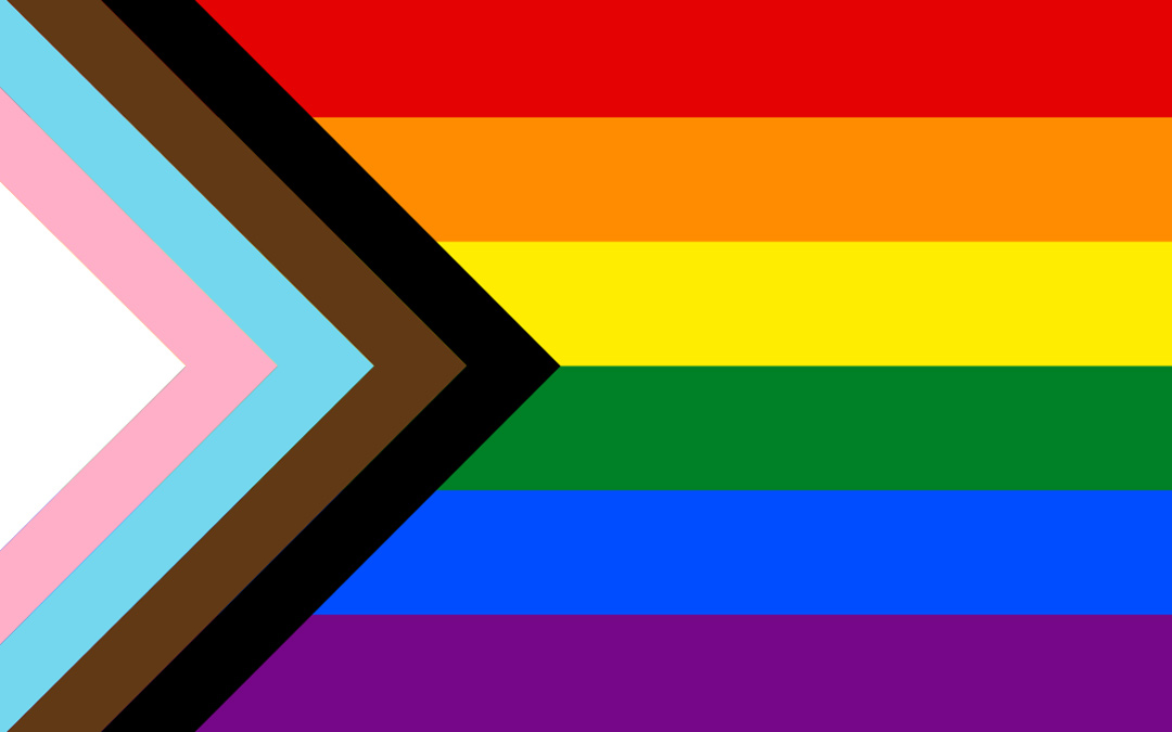 "LGBTQ+ rainbow flag Quasar ""Progress"" variant"
